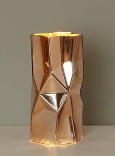 BHS // Illuminate Atelier // Herby Vessel Table Lamp // angular electroplated copper coloured glass vessel table light