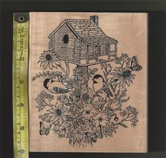 Cabin Birds Butterflies Birdhouse Rubber Stamp Wood Mounted Nature Florals  New #EmbossingArtsCo #CabinNatureBirdsButterflyGardening