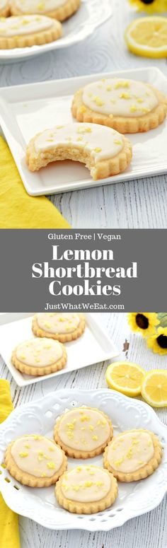 Lemon Shortbread Cookies - Gluten Free, Vegan - Just What We Eat Lemon Shortbread Cookies - These gluten free and vegan Lemon Shortbread Cookies are SO tasty! They are super easy to make and they have the most delicious and fresh lemon flavor! Cookies Gluten Free, Gluten Free Sweets, Gluten Free Baking, Vegan Sweets, Vegan Desserts, Vegan Gluten Free, Gluten Free Recipes, Baking Recipes, Cookie Recipes