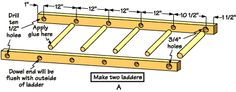 "Build a Wooden Ladder | Now assemble both ladder pieces using 13 1/2"" dowel to hold them ..."
