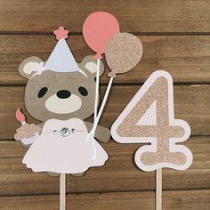 Cake Toppers Princess Bear Centerpiece Birthday by ItsyBitsyCA Custom Wedding Cake Toppers, Wedding Cakes, First Birthday Cake Topper, Bear Theme, Kids Party Decorations, First Birthdays, Centerpieces, Princess, Handmade Gifts