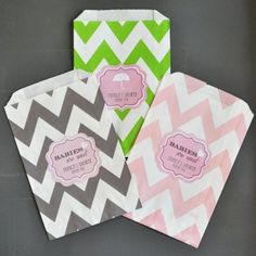 Personalized Baby Shower Chevron Goodie Bags