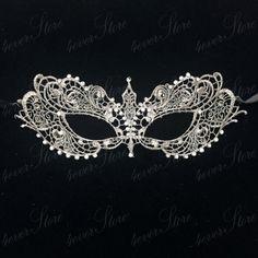 Platinum Silver Lace Masquerade Mask Elegant door 4everstore