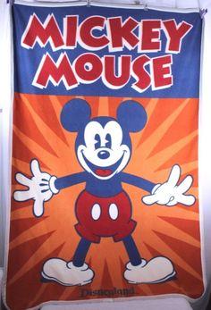 Disneyland Resort Mickey Mouse Orange/Blue Fleece Throw Blanket Disney Parks  #DisneyParks