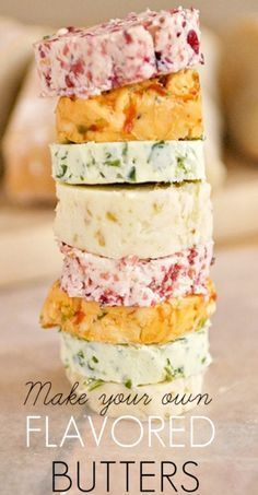FLAVORED BUTTERS RECIPE ~ FIG BUTTER, CRANBERRY BUTTER, GARLIC HERB BUTTER, ROASTED RED PEPPER BUTTER