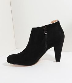 2b942608ca978 Chelsea Crew Black Suede   Silver Notched Heeled Tiffany Booties. 5 Inch  Heels ...