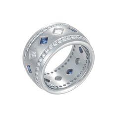 Platinum 12mm Eternity Band With Sapphires & 2.46ct Diamonds