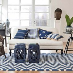 wisteria indigo pillows stools