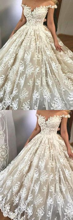 dreamy off shoulder wedding dresses with appliques, fashion ball gowns for dreamy wedding. #longpromdresses