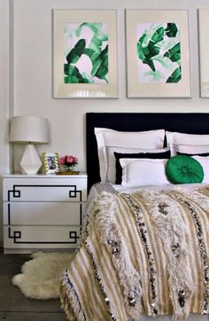 Use black paint to add accents to a plain white dresser.