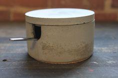 Large Gray Concrete Jar/Salt Cellar/Stainless by PortLivingCompany, $21.00