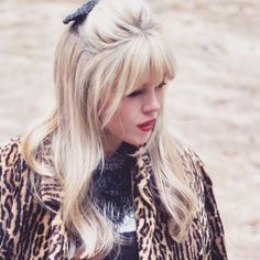 #blonde #bangs 60s hair style with bow