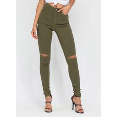 Stylish Simplicity Slit Jeggings OLIVE ($28) ❤ liked on Polyvore featuring pants, leggings, green, army green leggings, cotton leggings, jean leggings, army green jeggings and stretch leggings