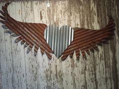 Kansas Barn Tin Heart with Wings Gypsy Junk Rusty by whattawaist www.studio11boutique.com