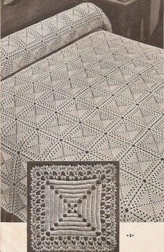 Vintage bedspread motif 8 pyramid crochet pattern only Crochet Afghans, Crochet Motifs, Crochet Squares, Thread Crochet, Filet Crochet, Crochet Tablecloth Pattern, Crochet Bedspread Pattern, Afghan Crochet Patterns, Diy Crafts Vintage