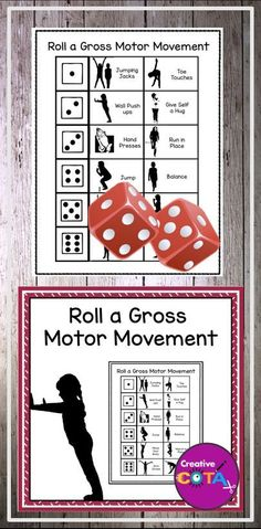 Use this motor movement break to get your class up and moving. Providing short exercise or brain breaks during the school day can help improve on-task behavior. These can also be used for indoor recess, an occupational or physical therapy session, as a warm up or full therapy activity. Print and laminate boards. Students roll a die to see which movement they must complete. Great small group or full classroom motor break.