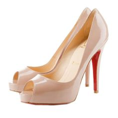 Christian Louboutin Cone Heel Nude Patent Leather Pumps