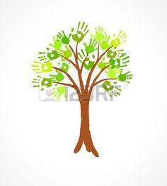 手形エコ概念設計のための作られた葉の緑の木