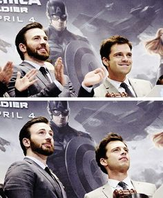 Chris Evans and Sebastian Stan They both look so regal in the bottom photo but their such dorks in the top one