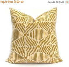**Update any room instantly with East & Nest Decor This listing is for: ONE Golden Rod Yellow and Natural Medium Textured weight Pillow Cover in a great modern designer tribal boho print.  Choose your size from the drop down menu to your right.   * East&Nest is known for our quality and durability. All covers have the same fabric on front and back. All covers are done in a medium weight home decor fabric unless otherwise stated in the listing. All covers have ENVELOPE CLOSURES.  • Car...