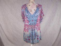 ONE WORLD Tunic Top M Butterfly Stretch Short Batwing Sleeves Sublimation Women #OneWorld #Tunic #Casual