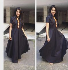Black looks amazing on her. Indian Gowns, Indian Attire, Pakistani Dresses, Indian Wear, Indian Outfits, Kurta Designs, Blouse Designs, Choli Designs, Western Dresses