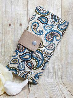 Womens Paisley Creams and Blues wallet Bifold by BirdsandBagz