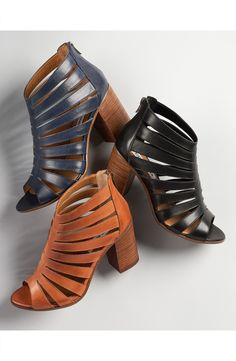 This breezy leather bootie is updated with sleek cutouts and styled with an open toe for a sophisticated look.