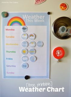 There are some wonderful, whimsical freebies out there to help little ones learn about the weather. Paint on the Ceiling has a Free Printable Weather Chart for Preschoolers. Printables offers My Weather Station Preschool Weather Chart, Weather Activities, Toddler Activities, Weather Charts, Teaching Weather, Weather Worksheets, Toddler Toys, Home Learning, Preschool Activities