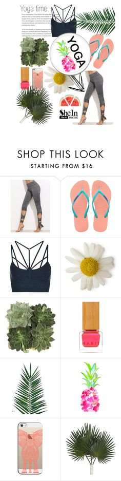 """""""Yoga time X"""" by grace-m-polyvor ❤ liked on Polyvore featuring Havaianas, Sweaty Betty, Jayson Home, Habit Cosmetics, Nika, WALL and Casetify"""