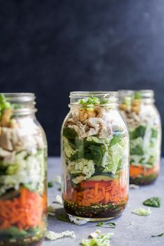Asian Chicken MasonJar Salad a delicious,easy recipe that's the perfect lunch for the week - done in 30 minutes! MasonJar Salad recipes are a delicious,easy, and perfect lunch for the week! This ASIAN CHICKEN MASON JAR SALADis loaded with veggies, napa cabbage, rotisserie chicken and topped with a Sesame Dressing - done in 30 minutes! A couple weeks ago Mike and I went to Florida for a super quick trip, as in we were there for like 48 hours. You may have seen some of the trip if you ...