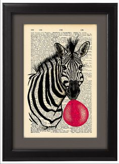 Hey, I found this really awesome Etsy listing at https://www.etsy.com/pt/listing/198358621/zebra-fooling-around-with-chewing-gum