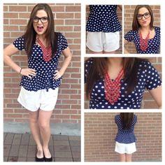 We love this fun and flirty outfit for the Spring/Summer! Everyone needs a fun polka dot peplum top! Peplum Top Outfits, Peplum Tops, Polka Dot Top, Spring Summer, Fun, Women, Fashion, Fin Fun, Moda