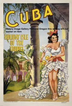 1949 Havana Cuba Dancing Girl Travel Poster | eBay