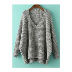 Grey V Neck Batwing Sleeve Dip Hem Oversized Sweater (1,250 INR) ❤ liked on Polyvore featuring tops, sweaters, grey, v-neck sweater, long sleeve sweater, pullover sweater, grey v neck sweater and oversized gray sweater