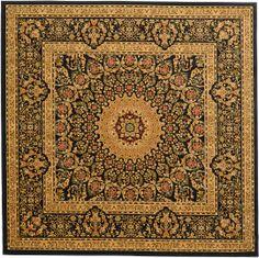 Black 9' 10 x 9' 10 Isfahan Design Rug   Area Rugs   eSaleRugs