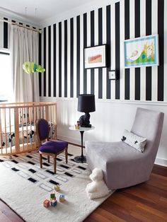 Love the black and white wall, very graphic.