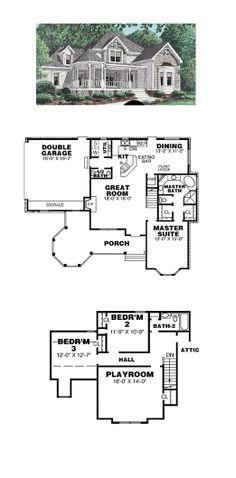 Victorian House Plan 67003 | Total Living Area: 2044 sq. ft., 3 bedrooms & 2.5 bathrooms. #houseplan #victorianstyle