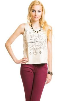 $16 at www.heavenlycouture.com Geo Cut Out Pleather Top in Light Peach