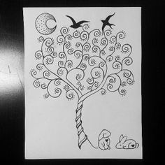 Tree of Life design, with birds to represent parents, and the two bunnies as daughters.