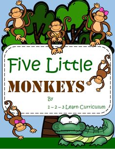 Five Little Monkeys pocket chart and book has been added to the 1 - 2 - 3 -Learn Curriculum web site. One of the fun literacy activities included in the Jungle Fun theme. Click on picture to subscribe for free downloads or to become a member and access all files on the 1 - 2 - 3 Learn Curriculum web site.