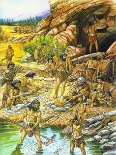 Activities in the Paleolithic Era Paleolítica, Prehistoric World, Prehistoric Animals, Paleolithic Era, Stone Age Art, Early Humans, Primitive Survival, History Facts, Ancient History