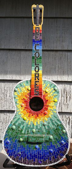 De Colores guitar by Elsieland Mosaics, via Flickr. Rainbow mosaic guitar