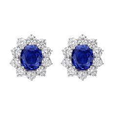 Estate Betteridge Collection Sapphire & Diamond Cluster Earrings