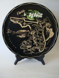 Vintage State of Florida Tin Metal Plate