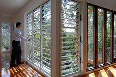 Louvre Windows – residential sector by Safetyline Jalousie - Selector Australia Louvre Doors, Louvre Windows, Door Design, House Design, Aluminium Windows And Doors, Residential Windows, Porch Windows, Interior Windows, Window Styles