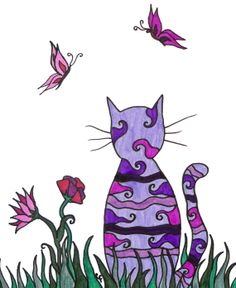 Colorful cat art print purple cat abstract by ablazeincolor, $10.00