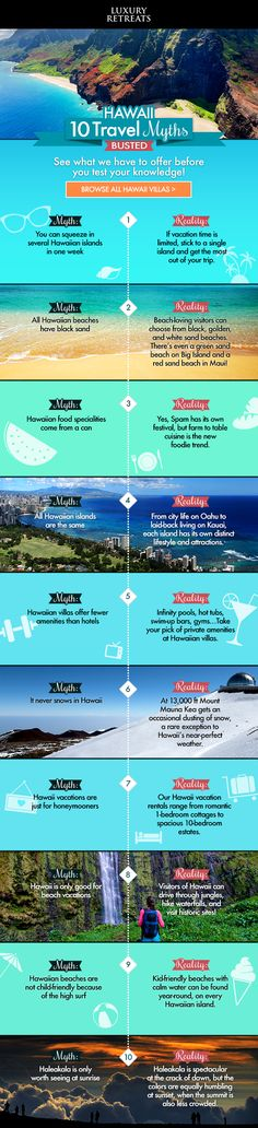 10 Hawaii Tavel Myths... Busted! #Hawaii #Travel #Infographic
