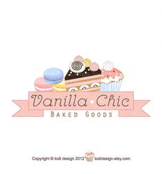 Illustrated Premade OOAK Logo design  - Vanilla and Chic - Bakery Cupcake Boutique on Etsy, $100.00