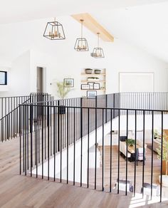 So crisp so clean clean! The modern lines of this railing against those white oak floors has us singing! Interior Stairs, Home Interior Design, Staircase Railings, Bannister, Railing Design, Railing Ideas, White Oak Floors, House Stairs, House Floor